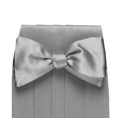 silver pretied bow  satin