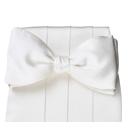 white pretied bow  satin