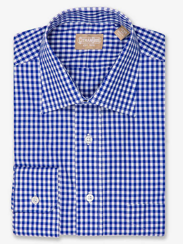 gingham check dress shirt with medium spread collar