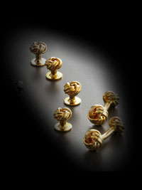 gold stud set  knot 22k
