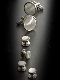mother of pearl stud set mop silver trim