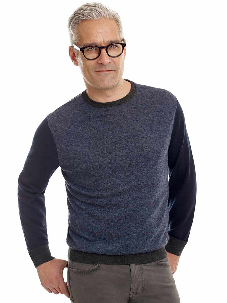Two Tone Navy Sweater by Tom James