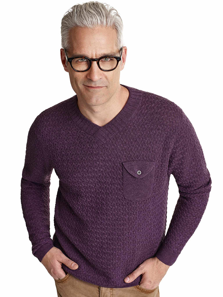 V-Neck Pocketed Sweater by Tom James