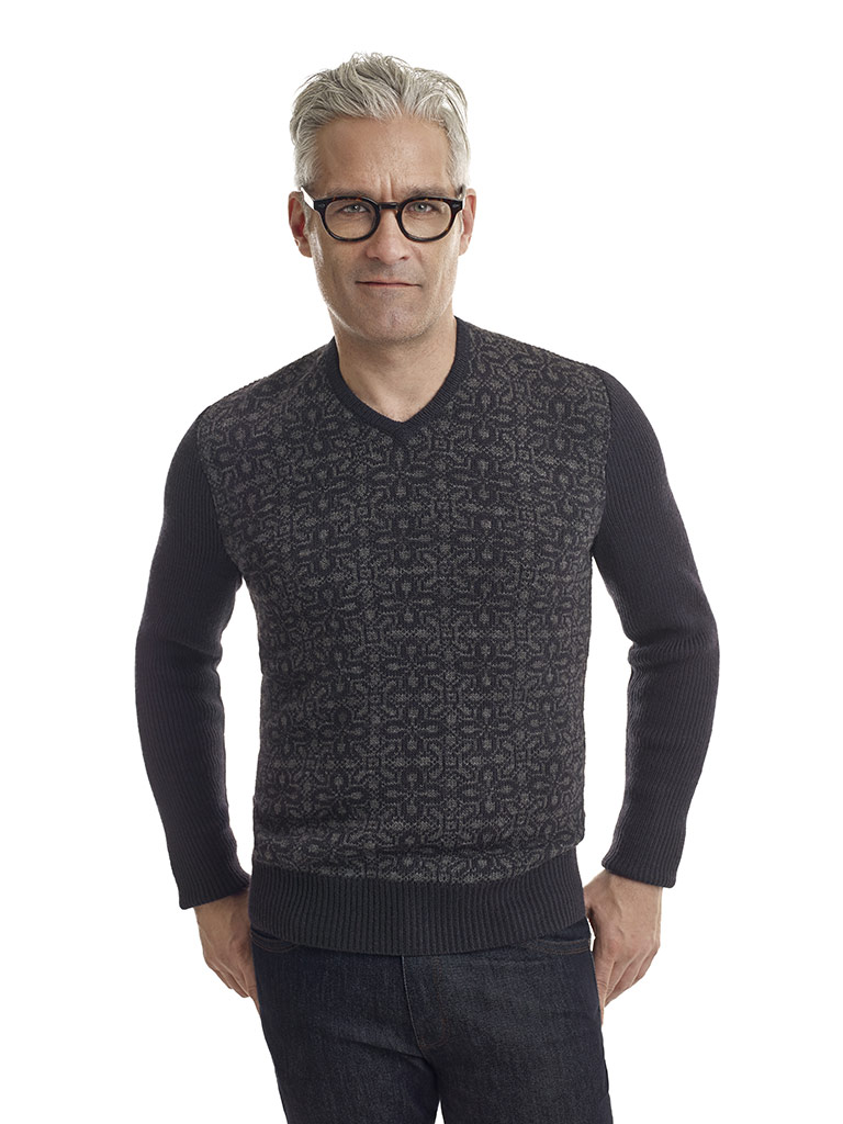Nordic Intarsia Design Sweater by John Varvatos