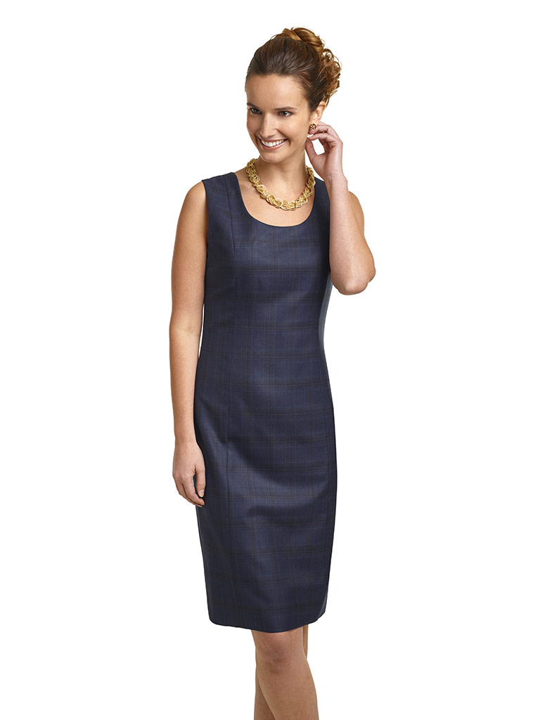 Super 120's Navy Windowpane Dress