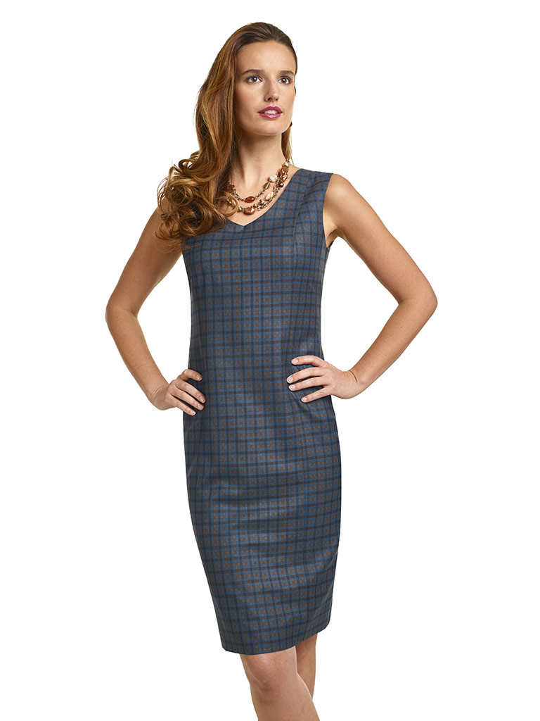 Super 140's Teal Blue Windowpane Check Dress