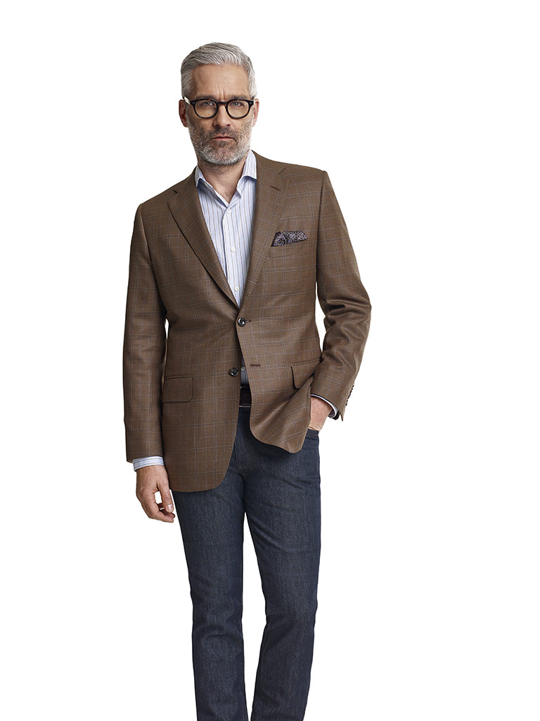 Super 140's Brown Fancy Windowpane