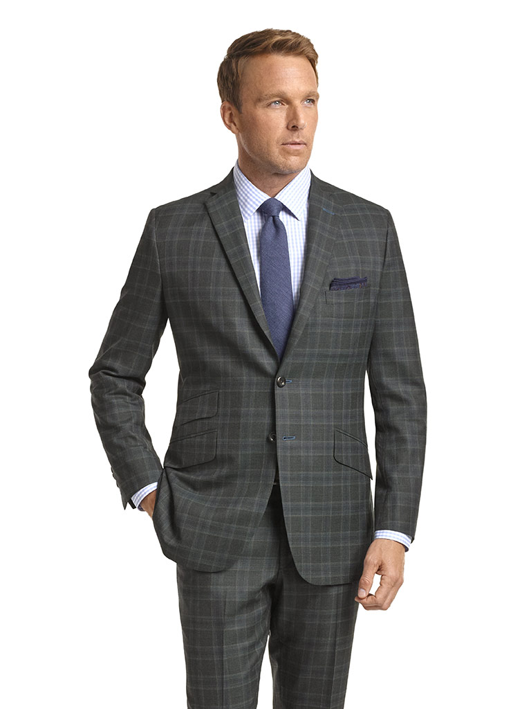 Super 120's Charcoal Green Plaid