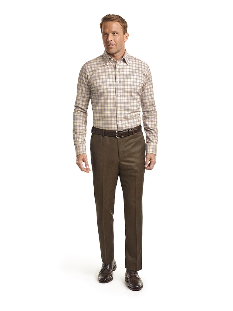 Corporate Image Tan Plaid Men
