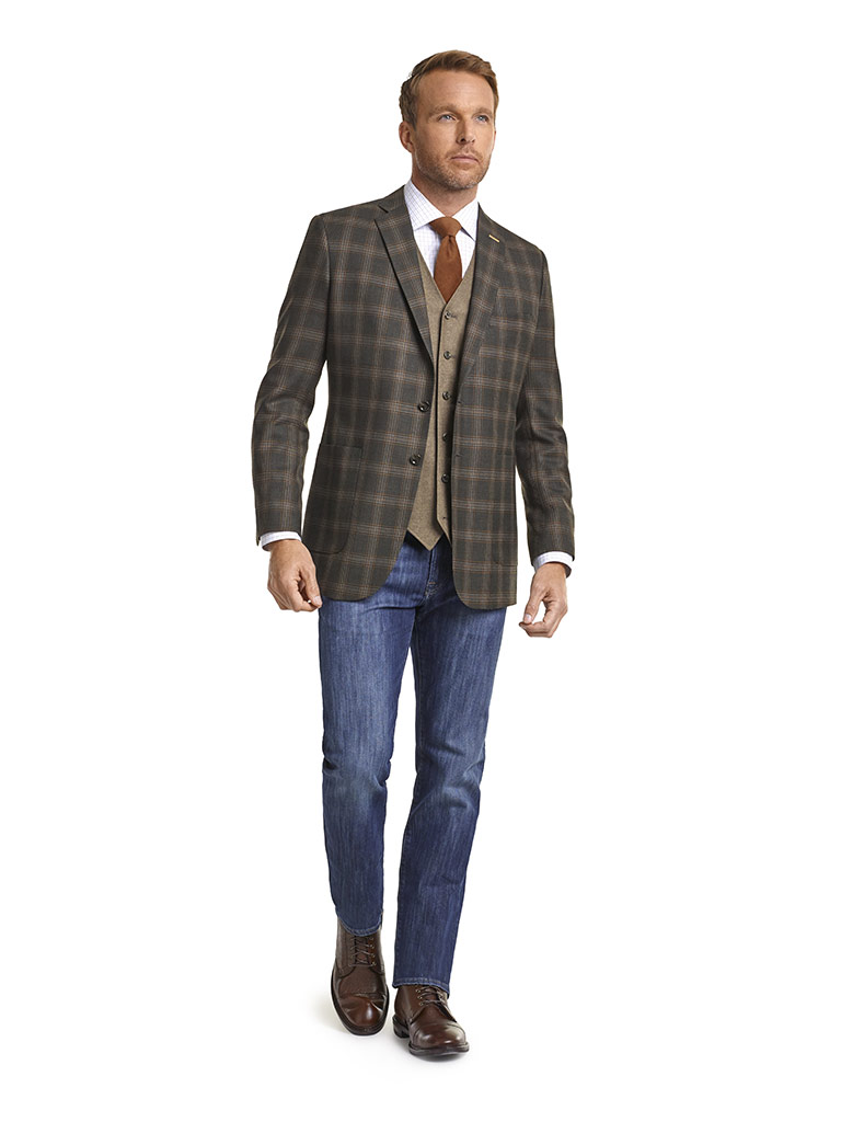 Super 120's Olive Brown Plaid Jacket, Solid Flannel Vest & 34 Heritage Jeans