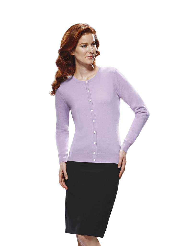 Women's 9 Button Crew Cardigan Long Sleeve