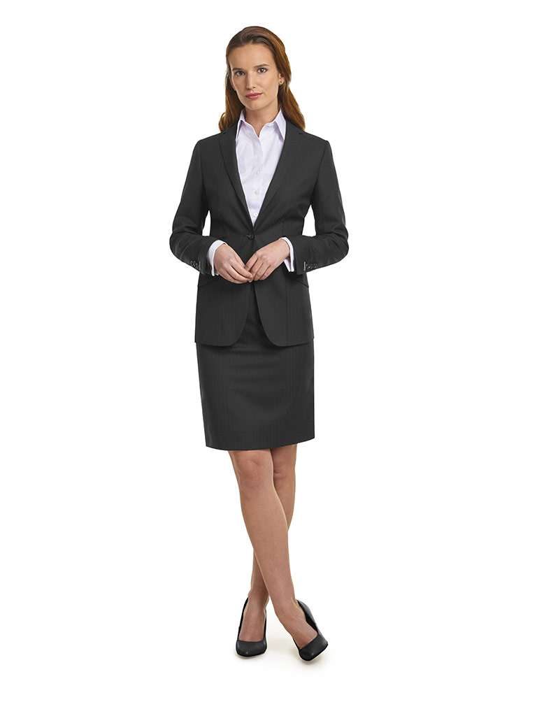 WOMEN'S CUSTOM SUIT                                                                                                                                                                                                                                       , Super 140's Black Herringbone