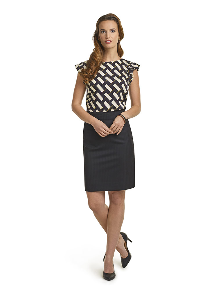 WOMEN'S CUSTOM SUIT                                                                                                                                                                                                                                       , Super 140's Black Herringbone Skirt & Silk Blouse