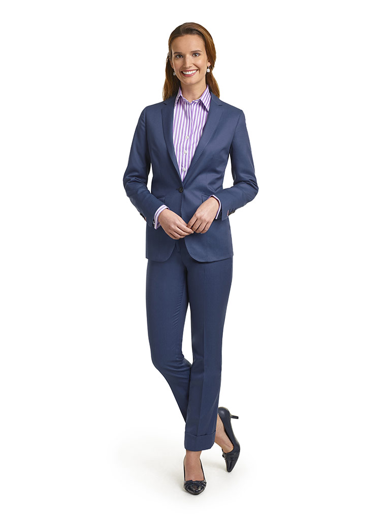 WOMEN'S CUSTOM SUIT                                                                                                                                                                                                                                       , Super 120's Royal Blue Solid