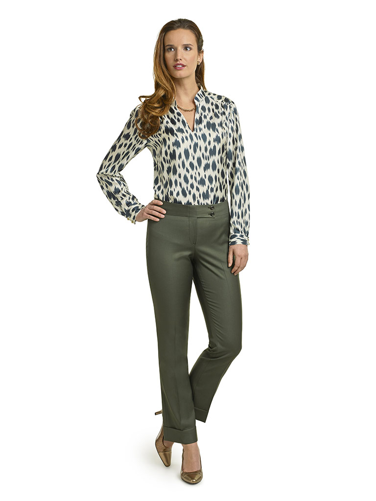 WOMEN'S CUSTOM SUIT                                                                                                                                                                                                                                       , Super 100's Forest Green Solid & Silk Twill Blouse
