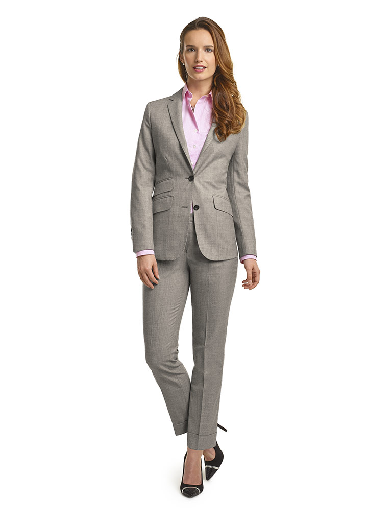 WOMEN'S CUSTOM SUIT                                                                                                                                                                                                                                       , Super 120's Light Gray Sharkskin