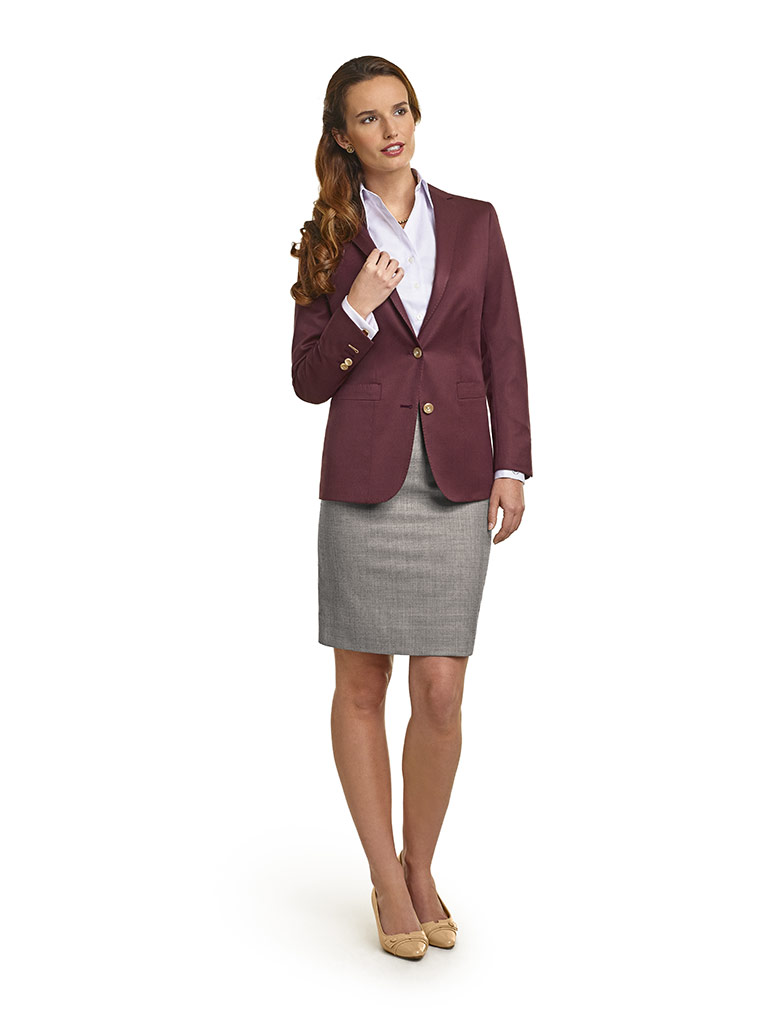 WOMEN'S CUSTOM SUIT                                                                                                                                                                                                                                       , Super 120's Maroon Solid  Jacket &  Gray Sharkskin Skirt