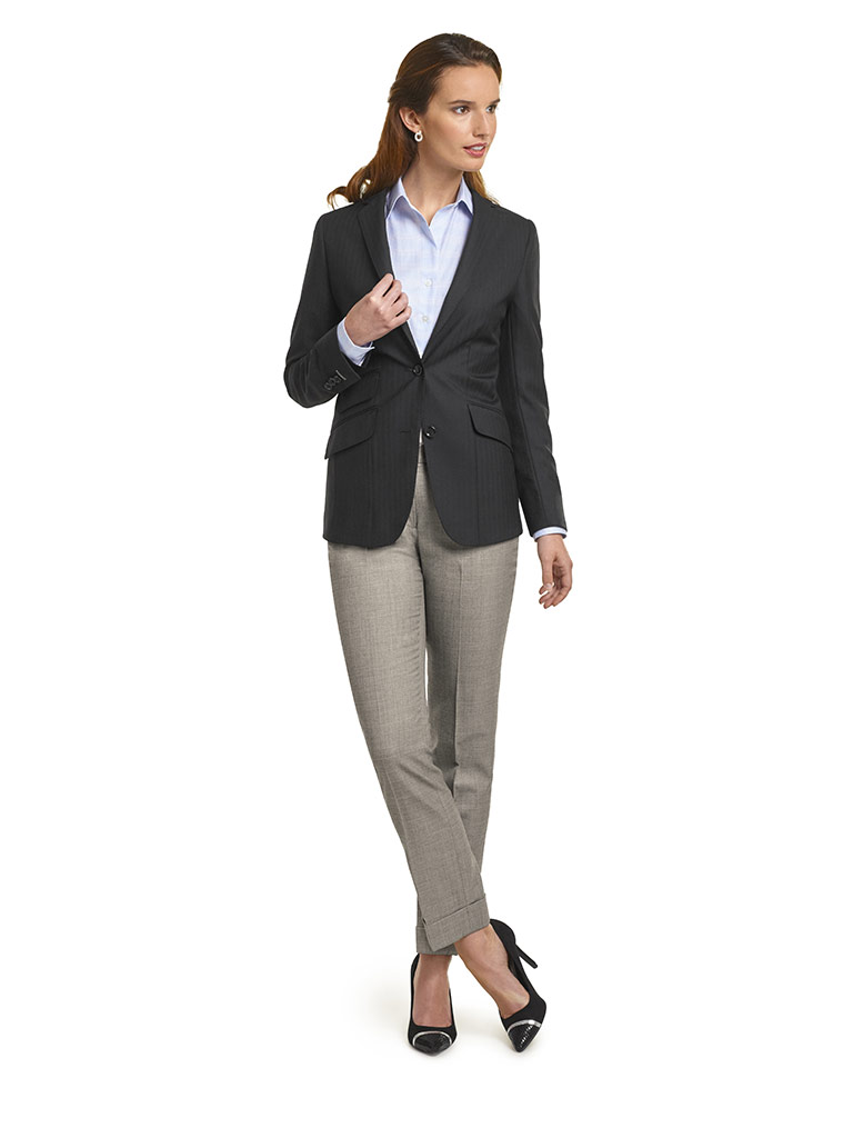 WOMEN'S CUSTOM SUIT                                                                                                                                                                                                                                       , Super 140's Black Herringbone  Jacket & Gray Sharkskin Pants