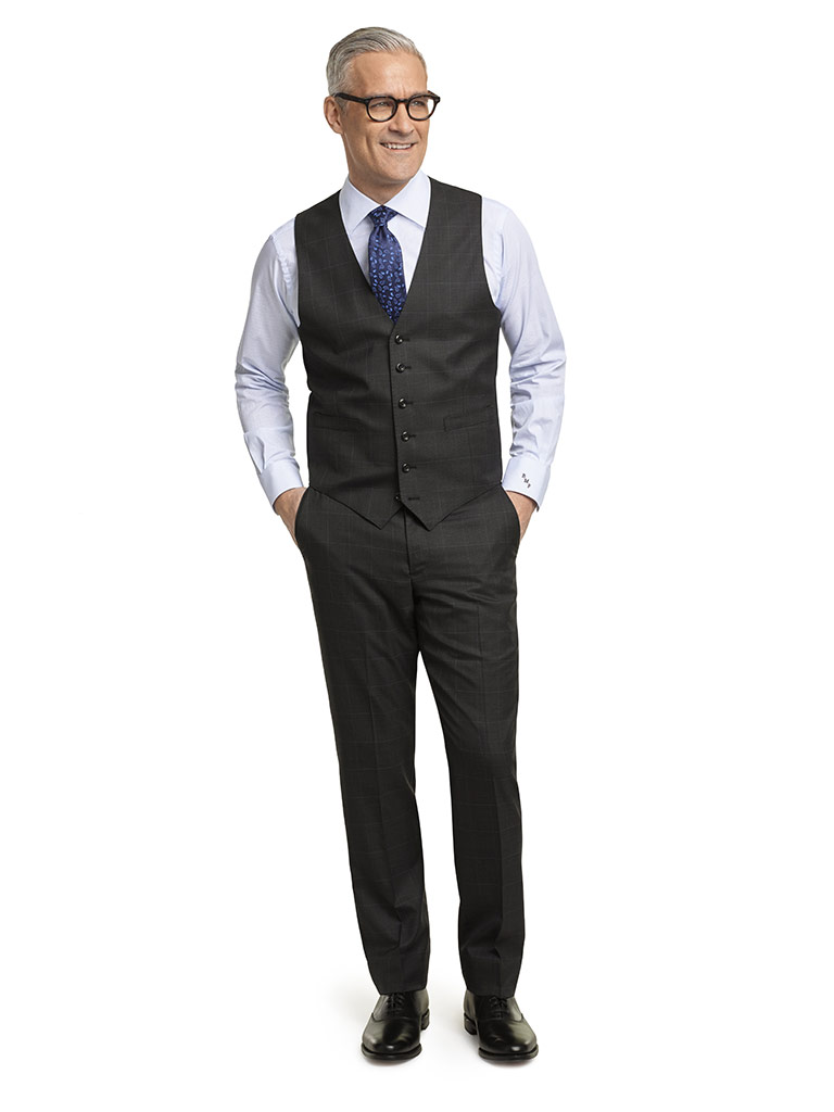 MEN'S CUSTOM SUIT                                                                                                                                                                                                                                         , Super 140's Charcoal Glen Plaid - Holland & Sherry Mille Miglia