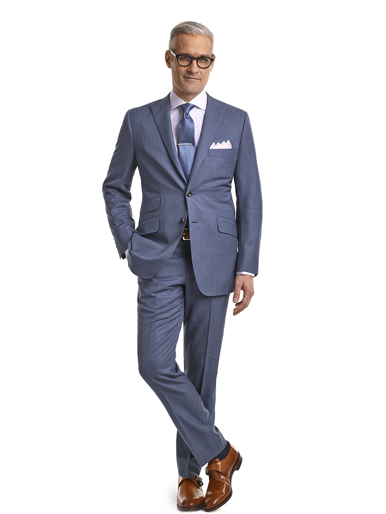 MEN'S CUSTOM SUIT                                                                                                                                                                                                                                         , Super 140's Light Blue Fancy Stripe