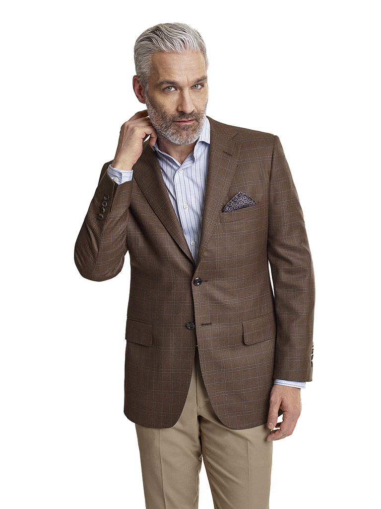 MEN'S CUSTOM SUIT                                                                                                                                                                                                                                         , Super 140's Brown Fancy Windowpane