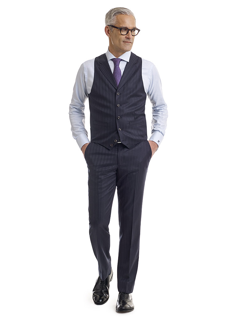 MEN'S CUSTOM SUIT                                                                                                                                                                                                                                         , Super 120's Dark Navy Herringbone Stripe