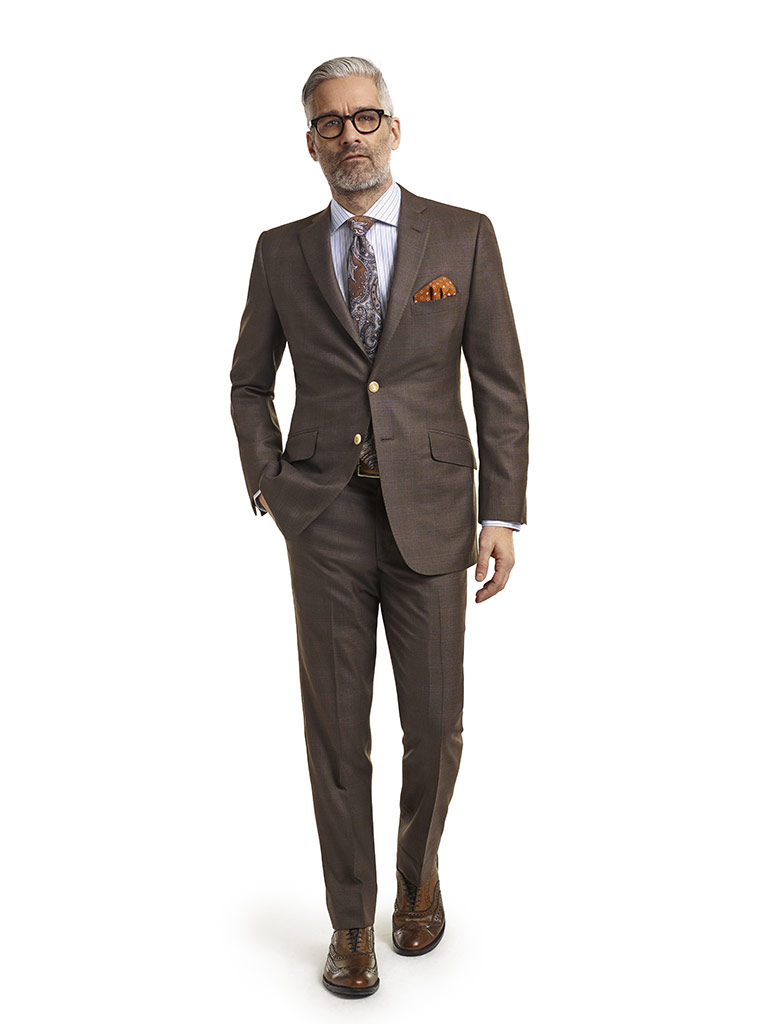 MEN'S CUSTOM SUIT                                                                                                                                                                                                                                         , Super 120's Dark Brown Plaid