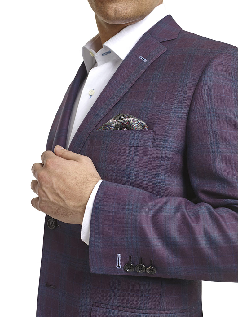 MEN'S CUSTOM SUIT                                                                                                                                                                                                                                         , Super 120's Plum Plaid