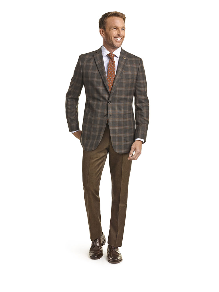 MEN'S CUSTOM SUIT                                                                                                                                                                                                                                         , Super 120's Olive Brown Plaid  & Golden Tan Melange