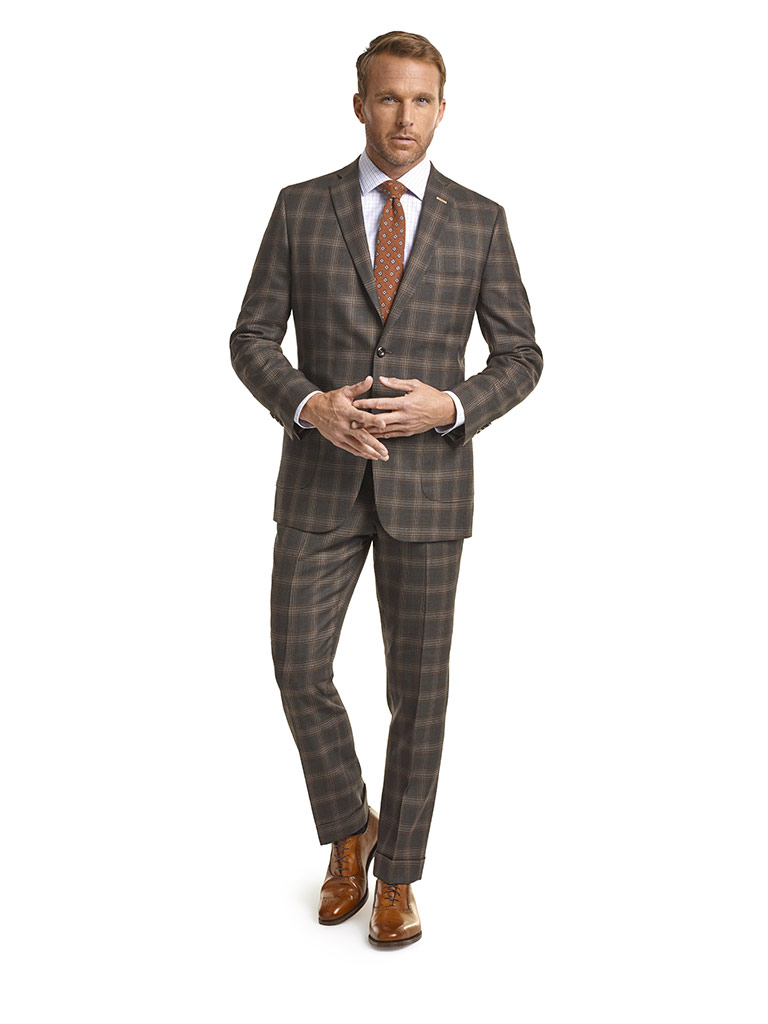 MEN'S CUSTOM SUIT                                                                                                                                                                                                                                         , Super 120's Olive Brown Plaid