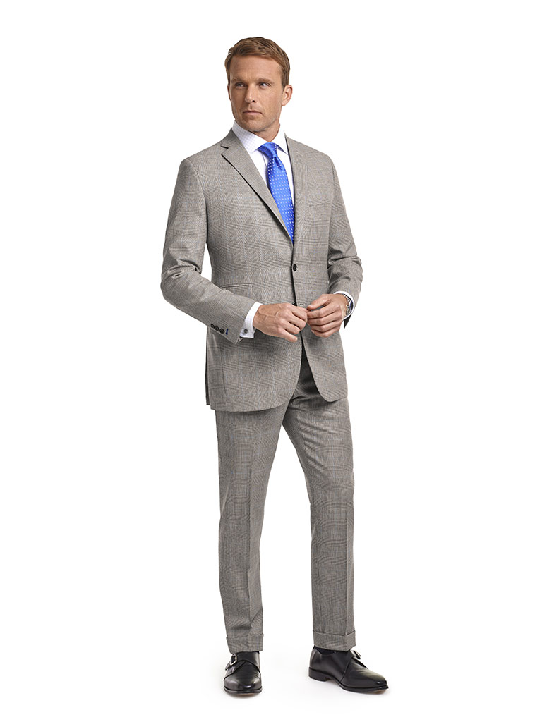 MEN'S CUSTOM SUIT                                                                                                                                                                                                                                         , Super 120's Black and White Glen Plaid - Holland & Sherry Target