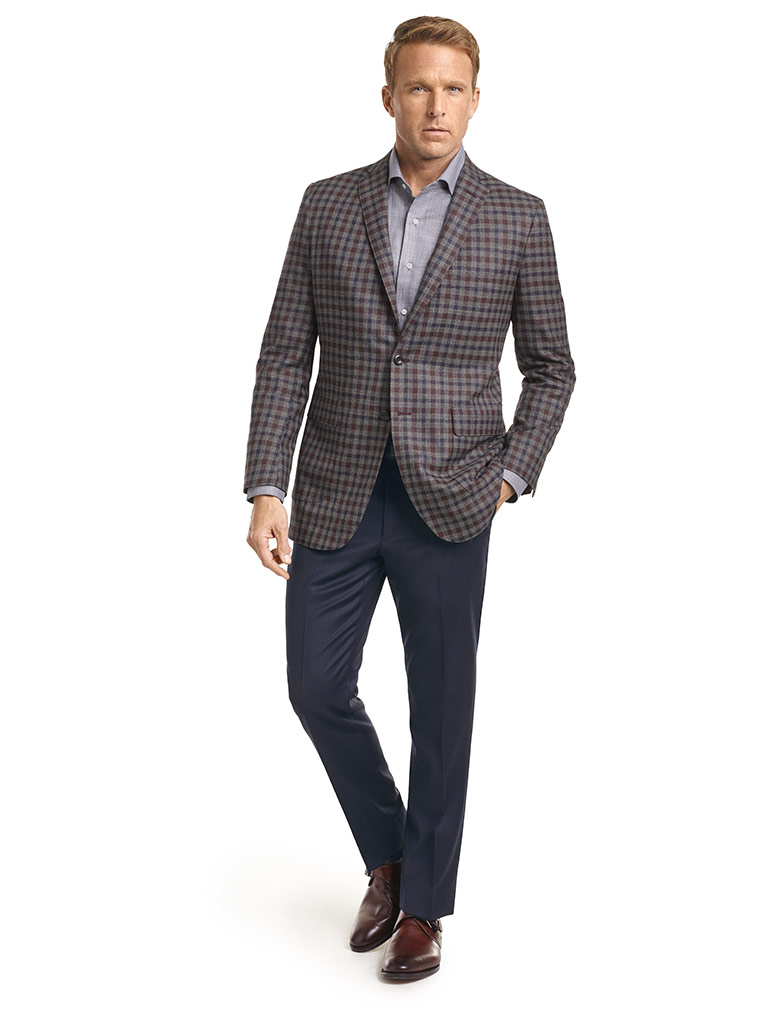 MEN'S CUSTOM SUIT                                                                                                                                                                                                                                         , Super 120's Gray/Navy/Burgundy Check Sports Coat