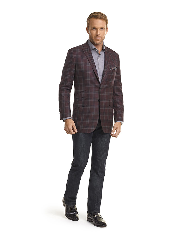 MEN'S CUSTOM SUIT                                                                                                                                                                                                                                         , Super 140's Wine Plaid Jacket & 34 Heritage Jeans