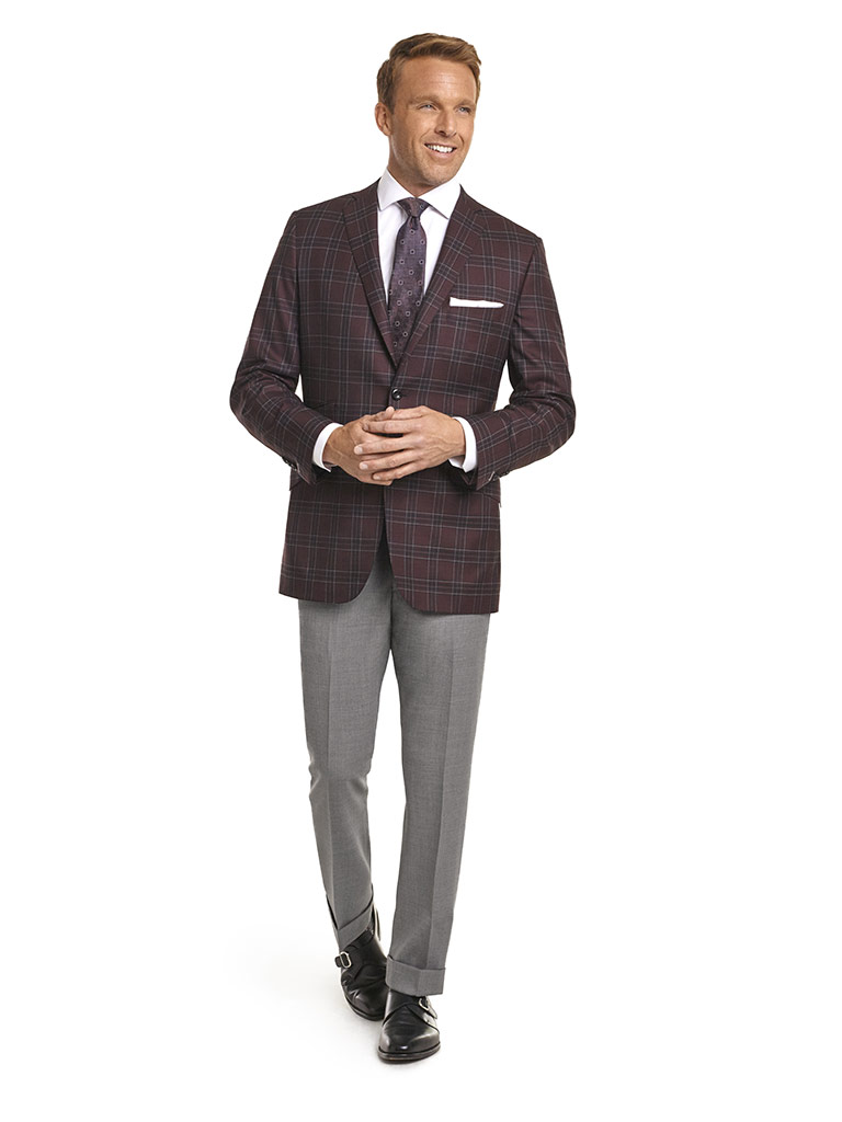 MEN'S CUSTOM SUIT                                                                                                                                                                                                                                         , Super 140's Wine Plaid