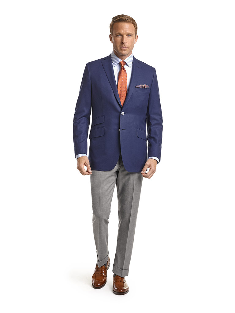 MEN'S CUSTOM SUIT                                                                                                                                                                                                                                         , Super 120's Navy Textured Solid Jacket
