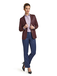 WOMEN'S CUSTOM SUIT                                                                                                                                                                                                                                       , Super 120's Maroon Solid  Jacket & Royal Blue Pant