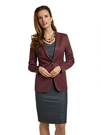 WOMEN'S CUSTOM SUIT                                                                                                                                                                                                                                       , Super 140's Teal Blue Windowpane Check Dress & Maroon Jacket