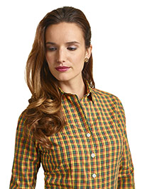 CUSTOM SHIRTS                                                                                                                                                                                                                                             , Executive Collection Orange & Green Plaid Women's Custom Dress Shirt