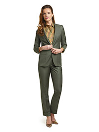 WOMEN'S CUSTOM SUIT                                                                                                                                                                                                                                       , Super 100's Forest Green Solid