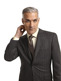 MEN'S CUSTOM SUIT                                                                                                                                                                                                                                         , Super 100's Charcoal Herringbone Stripe