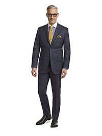 MEN'S CUSTOM SUIT                                                                                                                                                                                                                                         , Super 140's Navy Pin Dot Stripe - Holland & Sherry Mille Miglia