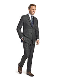 MEN'S CUSTOM SUIT                                                                                                                                                                                                                                         , Super 120's Charcoal Green Plaid