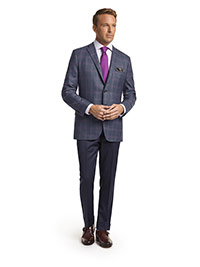 MEN'S CUSTOM SUIT                                                                                                                                                                                                                                         , Super 120's Blue Fancy Windowpane