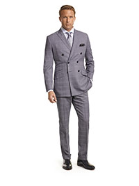 MEN'S CUSTOM SUIT                                                                                                                                                                                                                                         , Super 140's Gray Windowpane