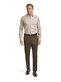 CUSTOM SHIRTS                                                                                                                                                                                                                                             , Corporate Image Tan Plaid Men's Custom Dress Shirt