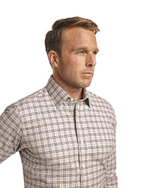 CUSTOM SHIRTS                                                                                                                                                                                                                                             , Corporate Image Tan Plaid Custom Men's  Dress Shirt