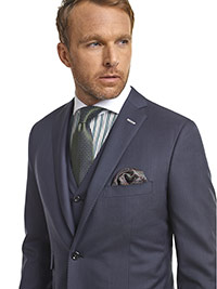 MEN'S CUSTOM SUIT                                                                                                                                                                                                                                         , Super 140's Blue Sharkskin - Holland & Sherry Mille Miglia
