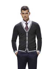 Custom Sweaters & Knits                                                                                                                                                                                                                                   , Men's Low V Cardigan Long Sleeve