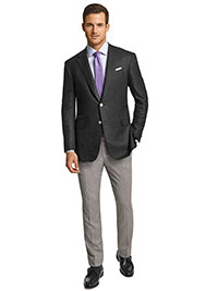 MEN'S CUSTOM SUIT                                                                                                                                                                                                                                         , Oxxford Super 130's Wool Black Hopsack