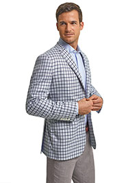 RESORT WARDROBE UPGRADE                                                                                                                                                                                                                                   , Super 120's Cream with Navy and Light Blue Over Check